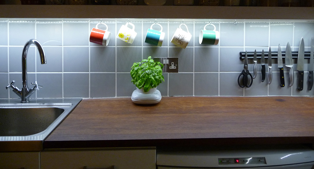 Kitchen with White LED Tape